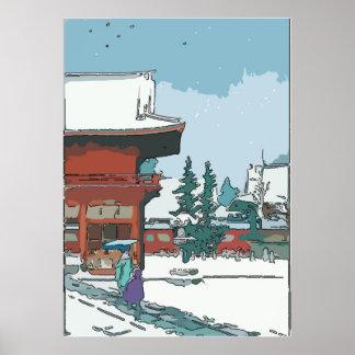 Vintage Style Japanese Snow Print