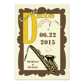 Vintage Style Jazz Save the Date Card