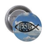 Vintage Style Jesus Fish Ichthys 2 Inch Round Button