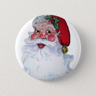 Vintage Style Jolly Santa Pinback Button