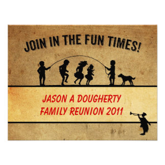 Vintage Style Jumprope Silhouette Family Reunion Invitations