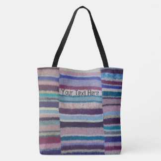 vintage style knitted colorful stripes fun design tote bag