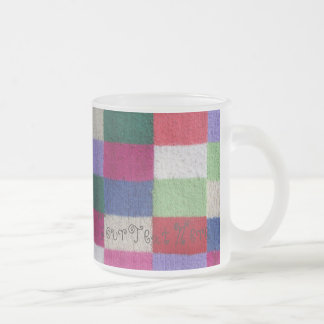 vintage style knitted patchwork design colorfu frosted glass coffee mug