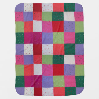 vintage style knitted patchwork squares colorful receiving blanket