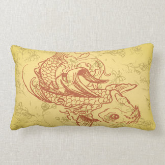 vintage style koi vector illustration pillow