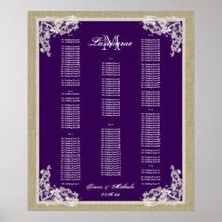 Vintage Style Lace Dark Purple AZ Poster
