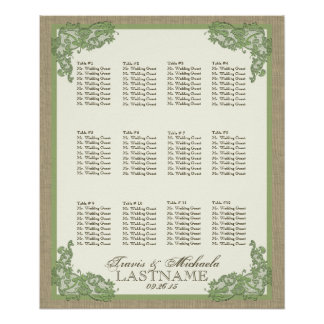 Vintage Style Lace Design Green Poster