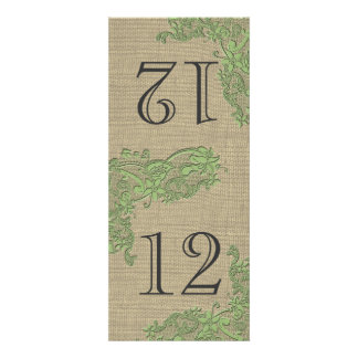 Vintage Style Lace Design Green Table Number Personalized Announcement