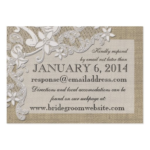Vintage Style Lace Design Insert card Business Card