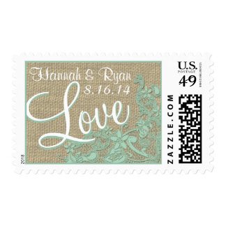 Vintage Style Lace Design Love Mint Green Postage Stamp