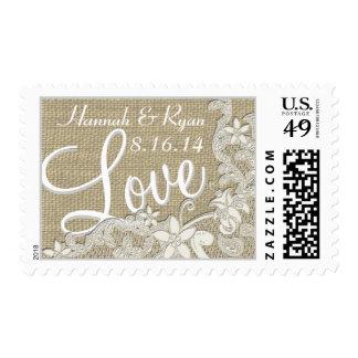 Vintage Style Lace Design Love Postage Stamp