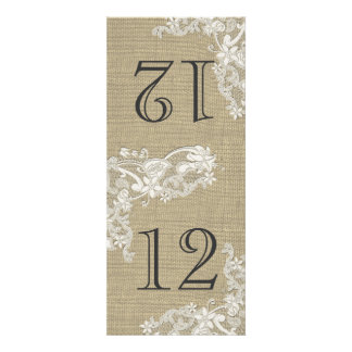 Vintage Style Lace Design Table Number Custom Announcements
