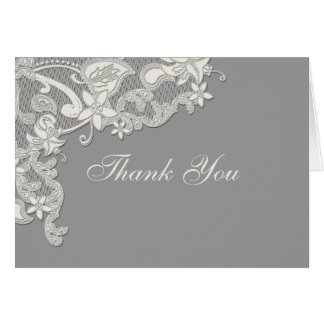 Vintage Style Lace Thank You Gray Card