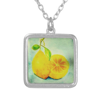 Vintage Style Lemons Silver Plated Necklace