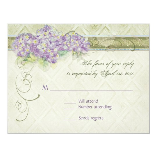 Vintage Style Lilac Hydrangea - RSVP Response Card