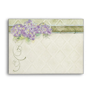 Vintage Style Lilac Hydrangea - Wedding Envelopes