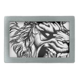 Vintage style lion rectangular belt buckles