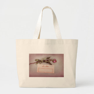 Vintage Style Love Letter written with a red rose Canvas Bags