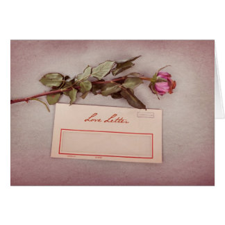 Vintage Style Love Letter written with a red rose Greeting Card