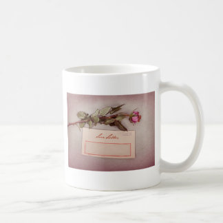 Vintage Style Love Letter written with a red rose Mugs
