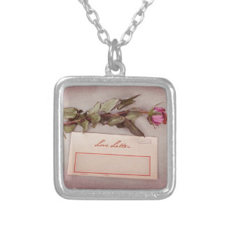 Vintage Style Love Letter written with a red rose Necklace
