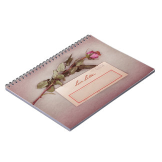 Vintage Style Love Letter written with a red rose Note Book