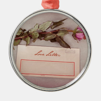 Vintage Style Love Letter written with a red rose Christmas Ornament