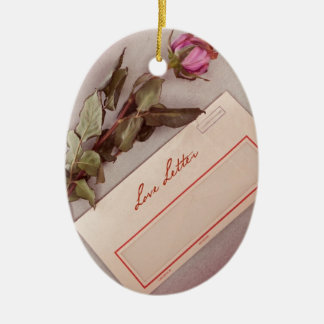 Vintage Style Love Letter written with a red rose Christmas Tree Ornament