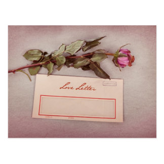 Vintage Style Love Letter written with a red rose Post Card