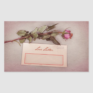 Vintage Style Love Letter written with a red rose Rectangular Sticker