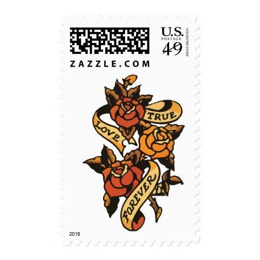 vintage style love roses tattoo postage stamp zazzle. Black Bedroom Furniture Sets. Home Design Ideas