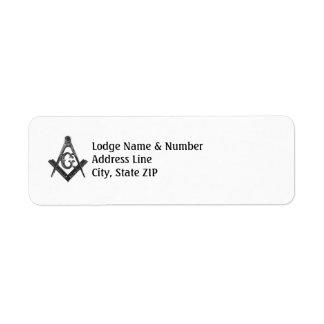 Vintage Style Masonic Lodge Address Label