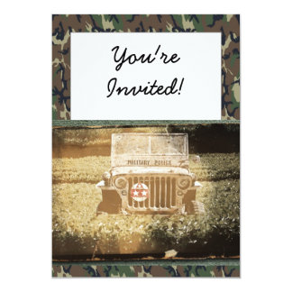 "Vintage Style Military Jeep 5"" X 7"" Invitation Card"