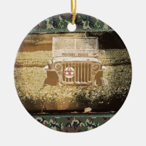 Vintage Style Military Jeep Christmas Tree Ornament