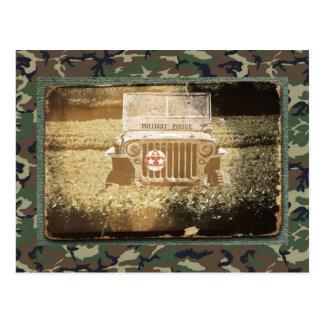 Vintage Style Military Jeep Postcard
