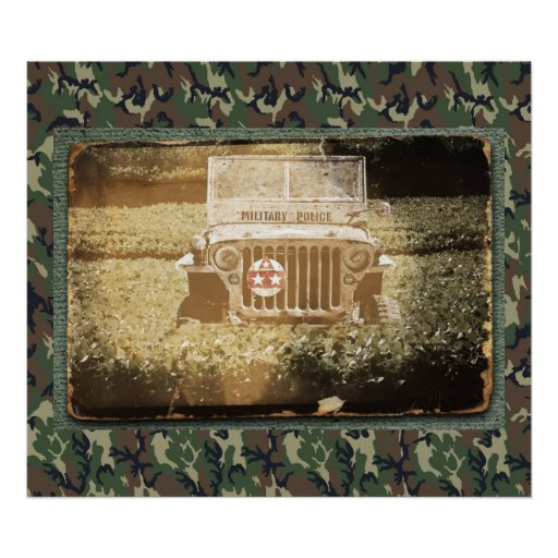 Vintage Style Military Jeep Poster