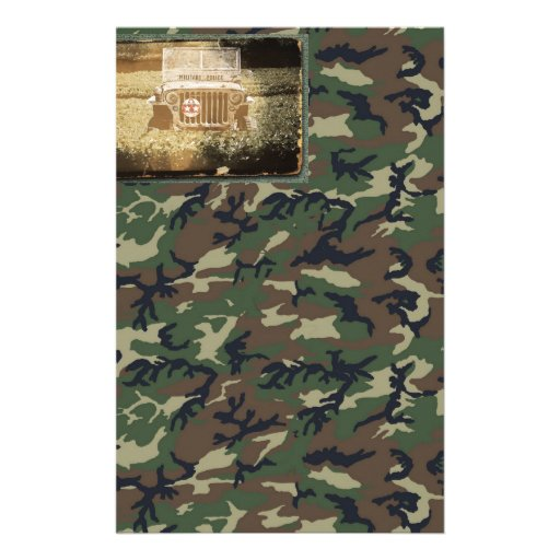 Vintage Style Military Jeep Stationery Paper