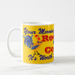 Vintage Style Mug Coffee Ad Rooster Brand Wake Up