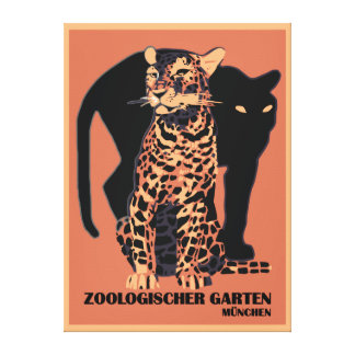 Vintage style Munich Zoo Stretched Canvas Prints
