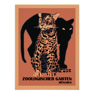 Vintage style Munich Zoo small Poster
