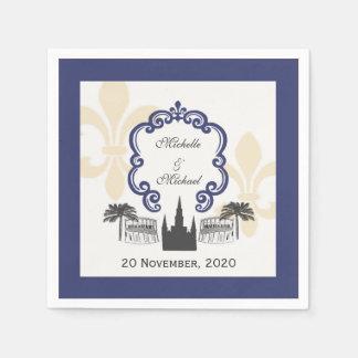 Vintage Style New Orleans Blue Wedding Event Paper Napkin