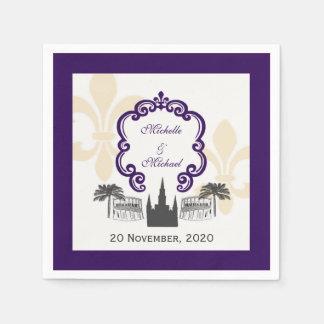Vintage Style New Orleans Purple Wedding Event Paper Napkin