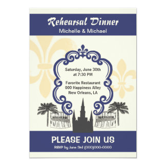Vintage Style New Orleans Wedding Event Blue 5x7 Paper Invitation Card