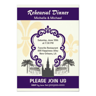 Vintage Style New Orleans Wedding Event Purple Card