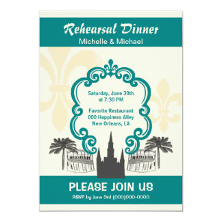 Vintage Style New Orleans Wedding Event Teal Card