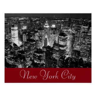 Vintage Style New York City Black White Red Poster