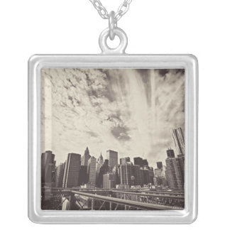Vintage Style New York City Skyline Silver Plated Necklace