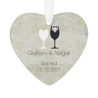 Vintage Style Newly Wed's Ornament