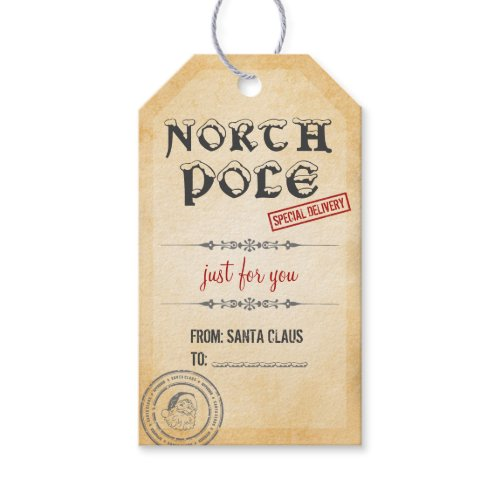 Vintage Style North Pole Christmas Pack Of Gift Tags