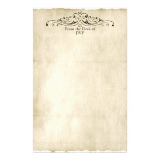 Vintage Style Old Parchment Personalized Monogram Stationery